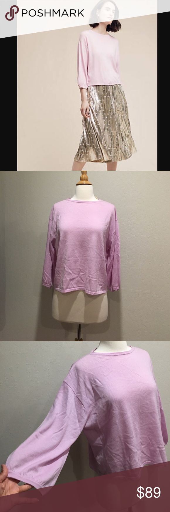 """Anthropologie Demylee lavender top NWT. Size S. Relax fit so fit M as well. 100% high quality wool. Bust flat across 24"""". 20"""" long. Balloon sleeves. Price is firm unless bundle. Anthropologie Tops"""