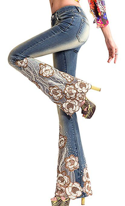 205315fa1f AvaCostume Womens Vintage Embroidery Sequin Lace Bell-Bottoms Blue Pants at Amazon  Women's Clothing store: | cocoStyle in 2019 | Lace jeans, Denim fashion, ...