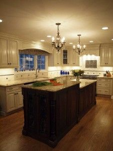 Kitchen makeover by Normandy Designer Jennifer Runner.  Features white painted perimeter cabinets and a dark stained island.Normandy Design, Kitchens Remodeling, Dark Stained, Kitchen Makeovers, Country Grey, Grey Cabinets, Stained Islands, White Cabinets, Kitchens Makeovers