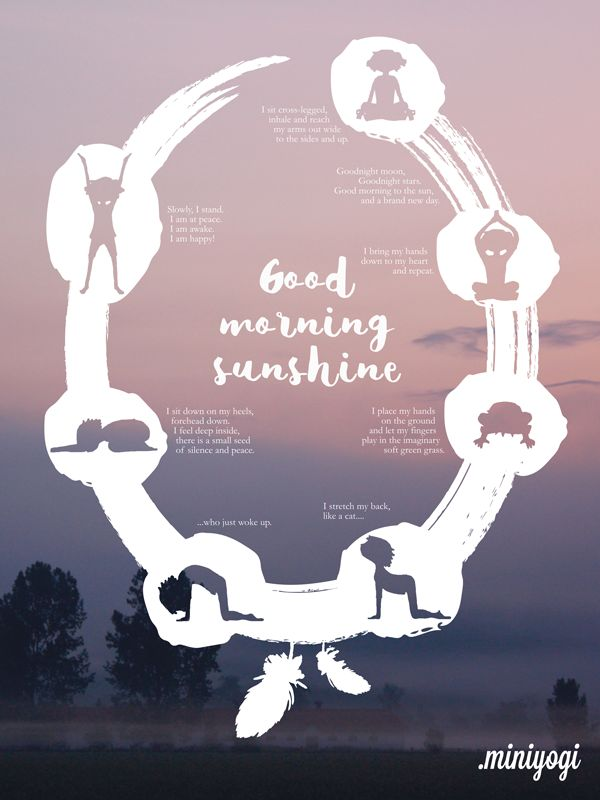Good Morning Sunshine Yoga Poster for kids  inspires a peaceful start of the day