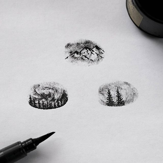 #tbt to the few weeks ago fingerprint mountain theme designs, close up. I'm still amaze about how a fingerprint can create such an amazing optical illusion of mountains and night sky.  #illustration #fingerprint #mountains #inktober