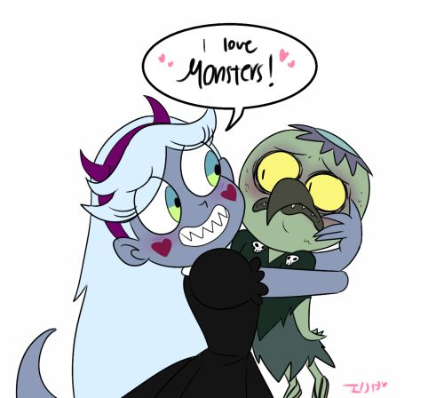 Little gifte for @ludogivemebabies Star loves monsters in this au, she gets along well with them.