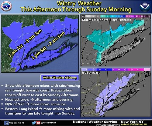 According to US National Weather Service New York NY, a Winter Weather Advisory will remain in effect from 1 PM this afternoon until tomorrow. Snowfall will occur this afternoon into this evening then switch to a mixture of snow and freezing rain this evening. Snow accumulations are predicted to stay within 2 to 4 inches.