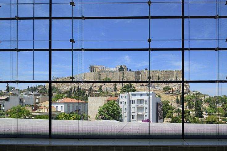 The view from the glass room of the Parthenon in the Acropolis Museum