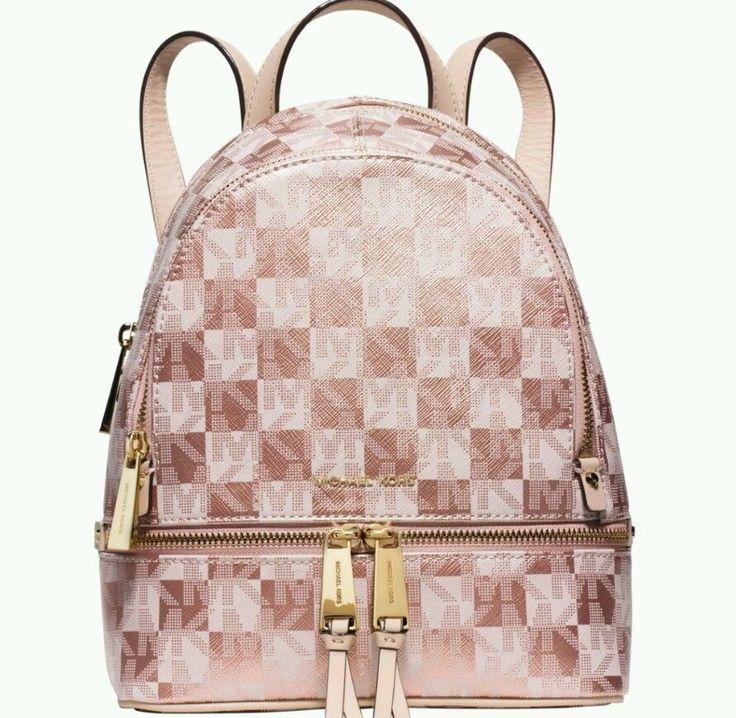 Michael Kors Purse Rose Gold Rhea Zip Signature Checkerboard Small Backpack Michaelkors