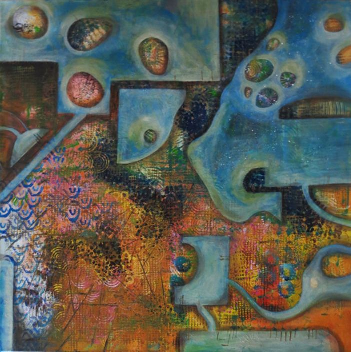 The Work of Man 90cm x 90cm acrylic by Shirley Dougan