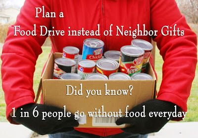 Great letter and examples of how to do a Food Drive instead of Neighborhood Gifts   by Amy Bennion Photography