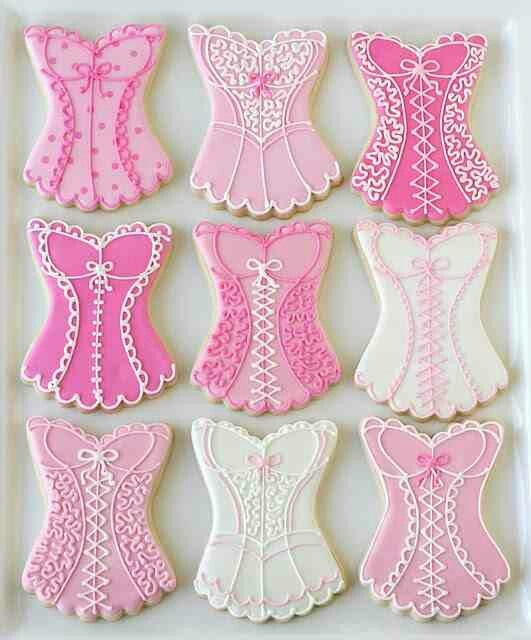 Pink corset cookies!! Good for Bachlorette party!