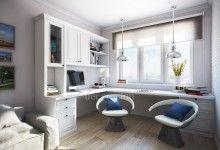 Дизайн интерьера в современном стиле, рабочий кабинет в квартире, письменный стол-подоконник у окна
