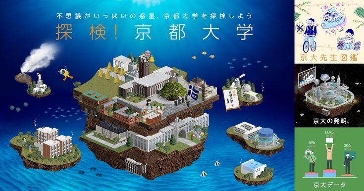 フィールドワーカーになって京大をバーチャル探検!京大の先生の生態を紹介する図鑑、京大の発明が生む未来世界、ノーベル賞受賞者のメッセージ、データで紐解く京大の特色などを紹介。