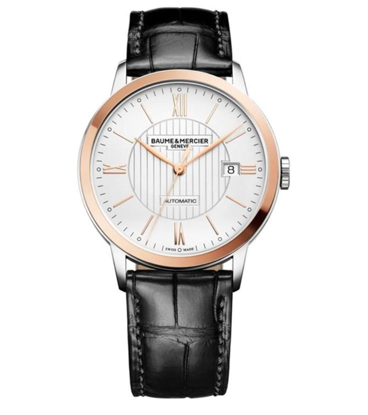 Model:Classima Automatic Ref. M0A10216 Movement:Automatic Gender:Male Complications:Date, Minute Hand, Second Hand, Hour Hand Shape:Round Case Material:Steel/ Red Gold 5N Dail colour:Silver- Coloured Engraved Size:40 mm Material:Croco-leather Price:€ 3 150 @colmanwatches