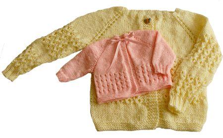 chaquetita de bebe y de nena de 6 años tejiendo perú