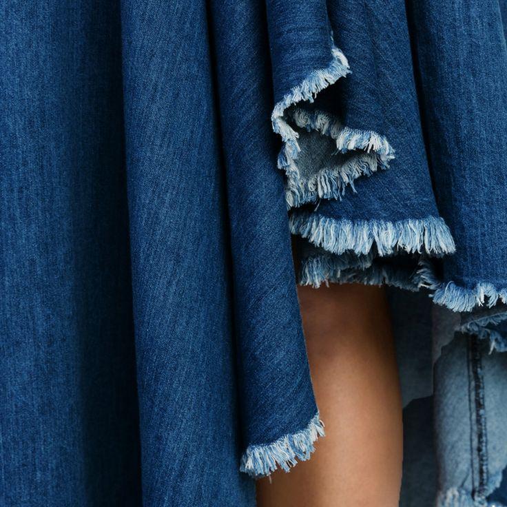 2017 Elastic High Waist Long Skirt Jupe Longue Sexy Ruffles Pleated Maxi Skirt Jupe Femme Women Solid Fashion Denim Skirt
