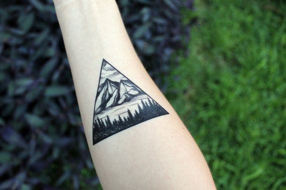 Triangle Mountain & Pine Forest Scene Temporary by NatureTats