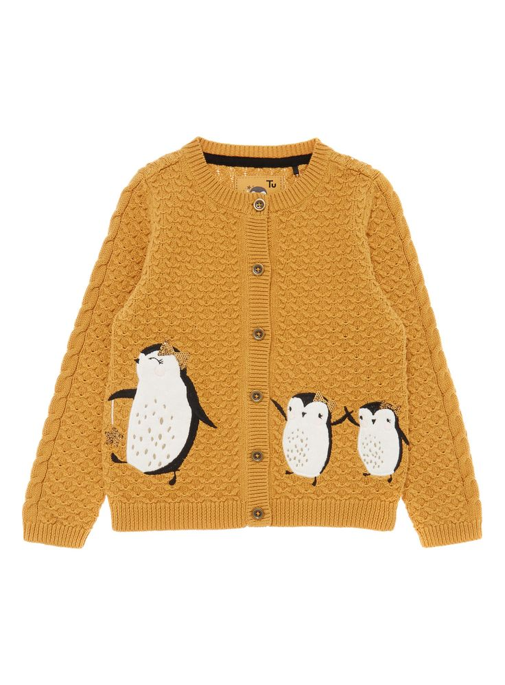 A winter staple for her knitwear collection, this cardigan features a knitted penguin pattern. It is ideal for layering over dresses. Girls yellow story cardigan Penguin design Sequin detail Long sleeves Button fastening Ribbed trims Keep away from fire