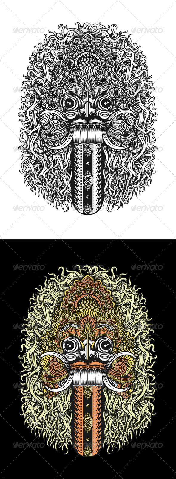 Great detailed drawing of the Balinese rangda mask