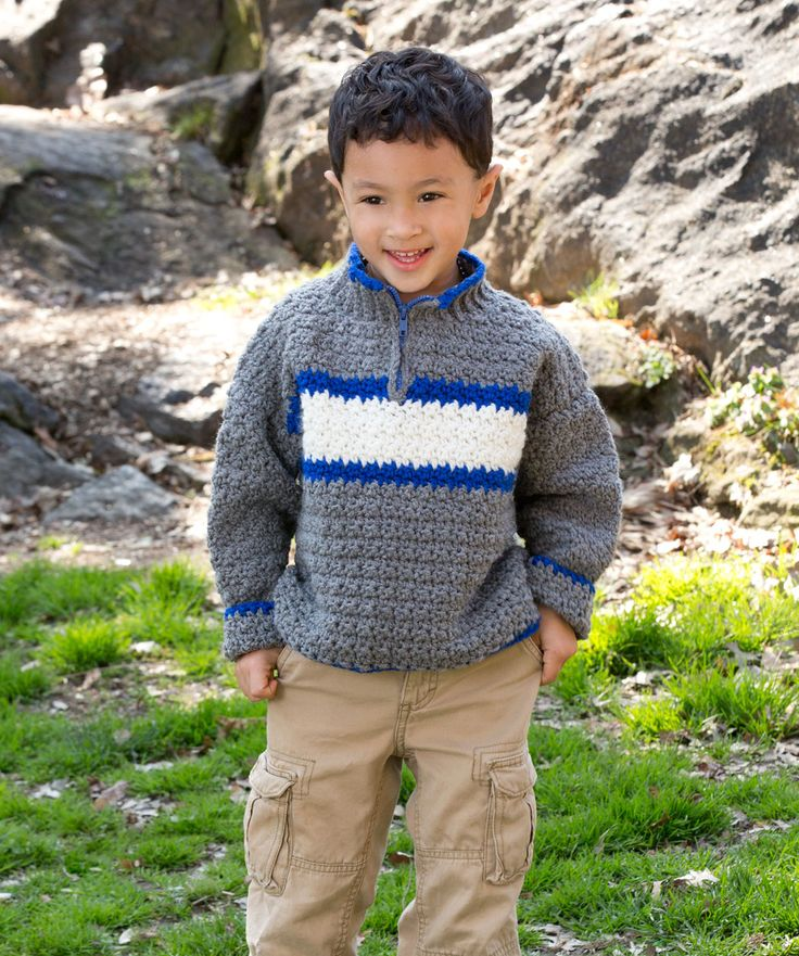 He'll love this pullover you make especially for him. An easy pattern stitch makes it fun to crochet, and the zippered opening will make it easy to wear.