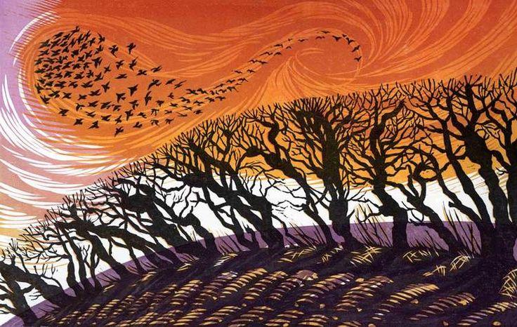Winter Starlings II linocut 18 x 28 cm £150