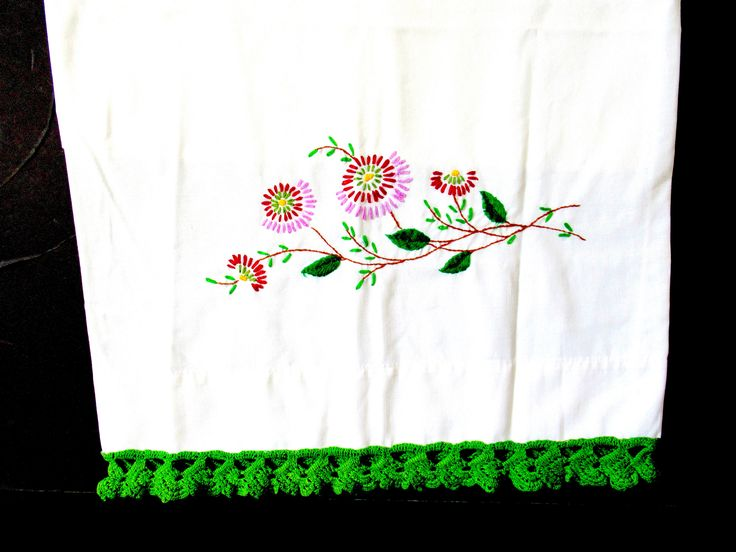 Vintage pillow case, king size pillow case, vintage bedroom, hand embroidered, 50s pillow case, white pillow case, vintage bed linens, king by lovesknitting on Etsy