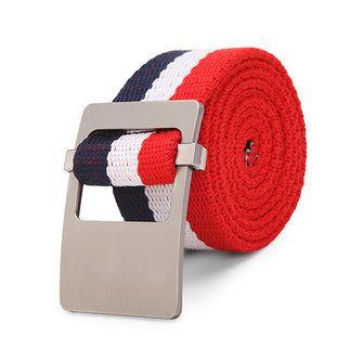 110CM Men Canvas Belt  Alloy Head Thick Weave Stripe Buckle Pants Strip