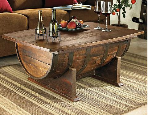 Whiskey Barrel Table and Chairs | whiskey barrel coffee table.100 Proof. Once a fixture in a Tennessee ...