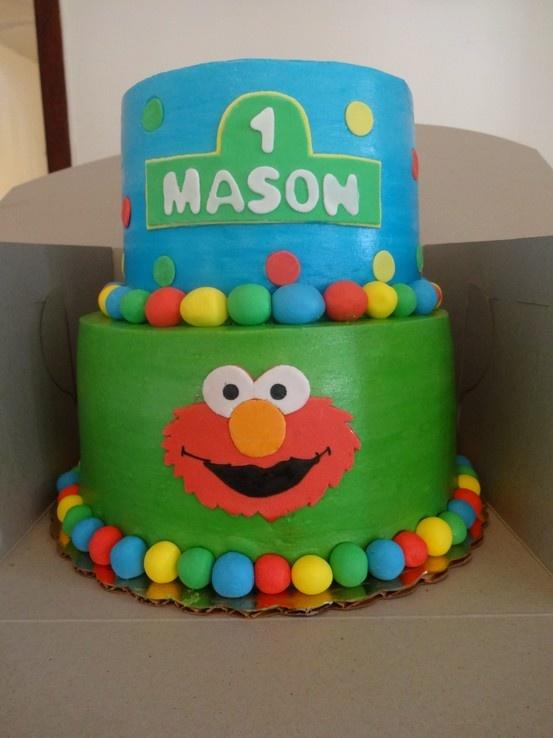 Fun Sesame St. 1st birthday cake Elmo and friends.