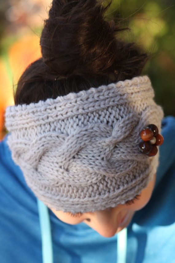 Knitted Headband Red Cable Knit ear warmers by LoveBeeShop