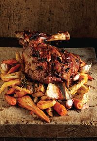 Slow-roasted shoulder of lamb with rosemary root vegetables and Mum's mint relish