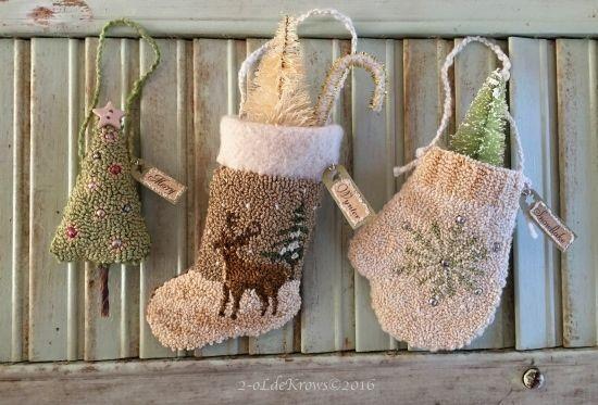 Merry-Wynter-Snowflake Primitive Original Christmas Punch Needle Ornaments OOAK #NaivePrimitive