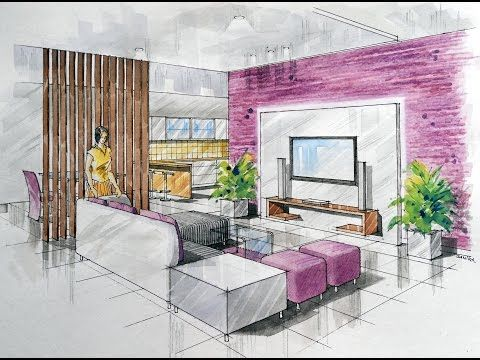 2-point Interior Design Perspective Drawing Manual Rendering How to Tutorial Lessons-4 Watercolour - YouTube