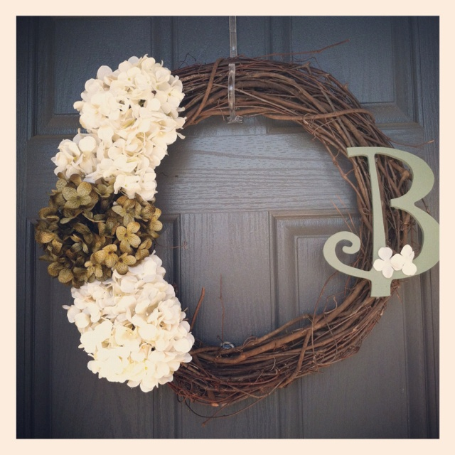 Initial wreath, all materials from Hobby Lobby.  #DIY