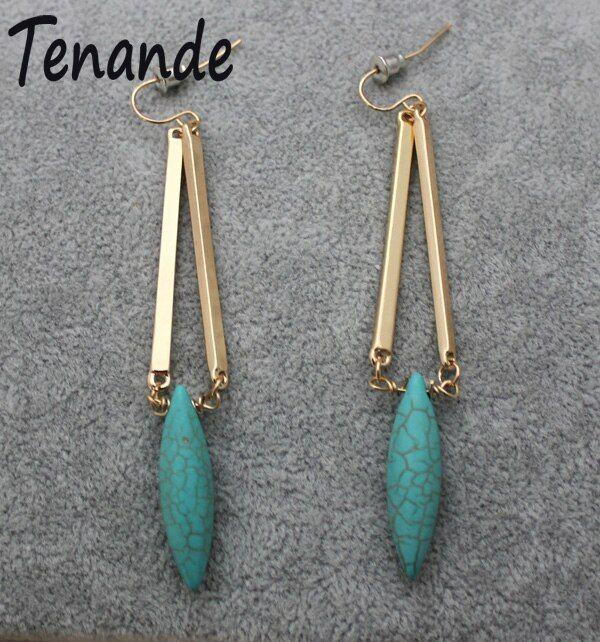 Vintange femme turquoise bohème boho Long Tassel Dangle Drop Crochet Boucles D/'oreilles