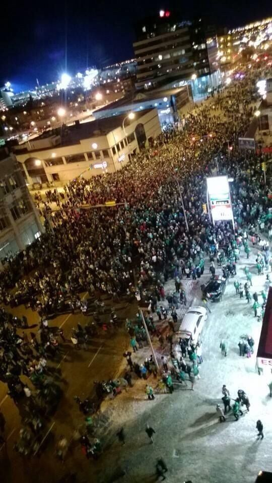 Green Street in Regina Sask. After the GreyCup win. Nov.24/13. The city is left in one piece