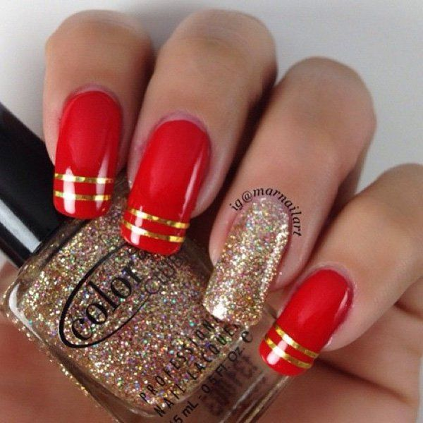 A red and gold inspired nail art design using a matte red polish, gold sparkles and of course, thin metallic gold strips