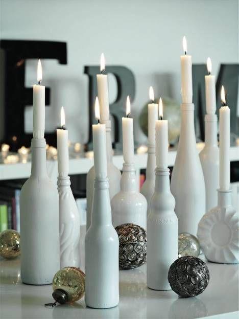 Kynttilät vanhoihin viinipulloihin   Kotivinkki