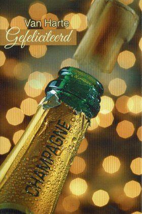 Van harte gefeliciteerd - kaart met champagne