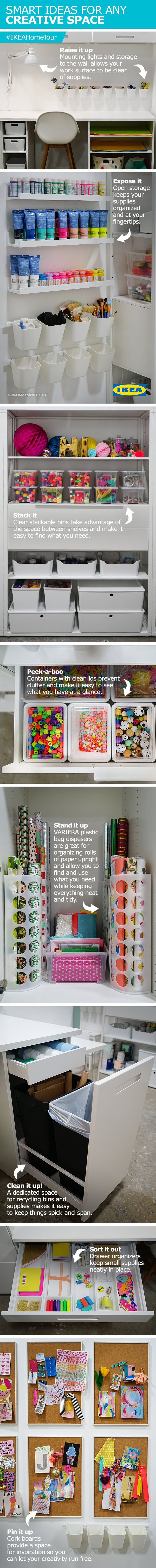Find smart ideas for any creative space with help from the IKEA Home Tour Squad and Oh Joy! Things like mounting your lights and storage to the wall, clear stackable bins and drawer organizers will all help to keep your space organized and your items easily accesible.
