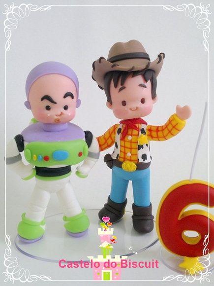 TOPO DE BOLO TEMA TOY STORY WOODY E BUZZ COM VELA PERSONALIZADA. http://www.elo7.com.br/toy-story-com-vela/dp/3997B8#mrrp=1