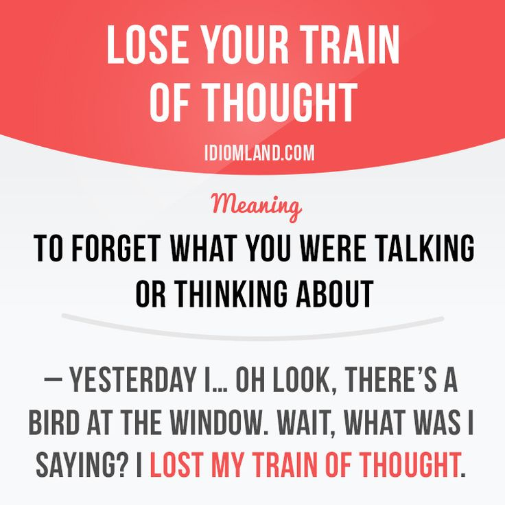 """Lose your train of thought"" means ""to forget what you were talking or thinking about"".   Example: – Yesterday I… oh look, there's a bird at the window. Wait, what was I saying? I lost my train of thought."