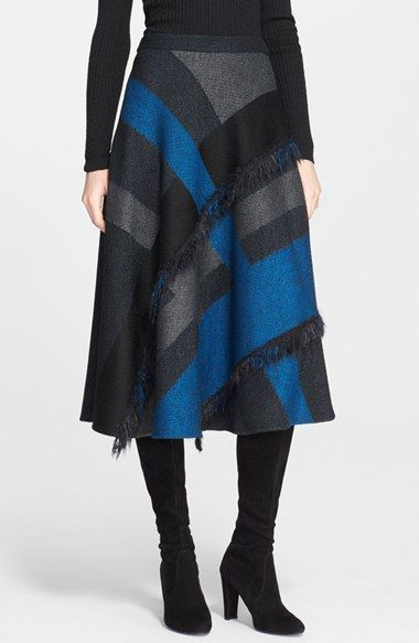 Free shipping and returns on St. John Collection Fringe Detail Plaid Midi Skirt at Nordstrom.com. Feathery fringe emphasizes the graphic lines of this exploded-check skirt. A swingy A-line cut combined with a below-the-knee length create a timeless and flattering silhouette.