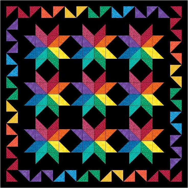 "This free quilt pattern is called ""Rainbows All Around"". Get it now…it's only free until March 30th."