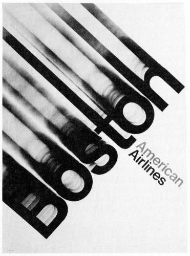 For me this poster has an old style feel to it. I love how the design with the word 'Boston' in this poster is creating movement its captivating, the density and heaviness of the word creates a great contrast. Very creative for an airline.