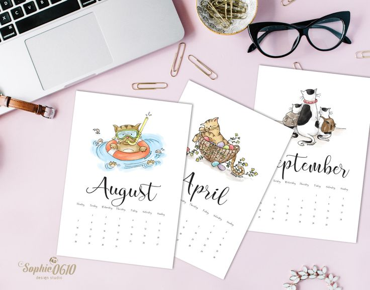Printable 2017 Calendar For Cat Lovers A4 A5 Letter Year Digital Desk One Month Instant Download