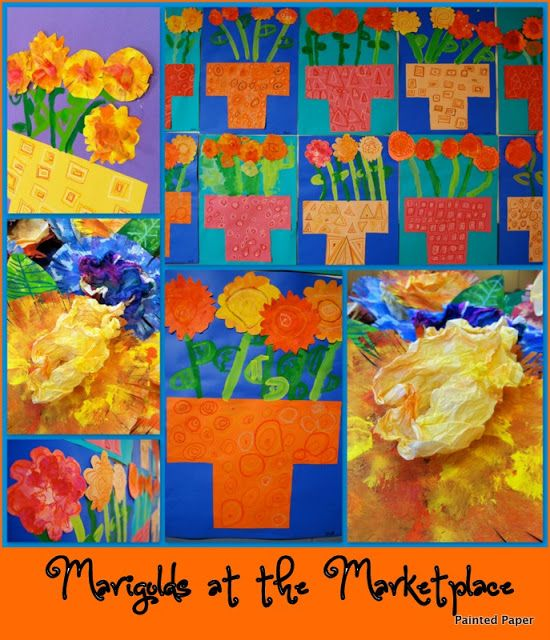 Kinder Marigolds for Hispanic History Month Dia de los Muertos Reference