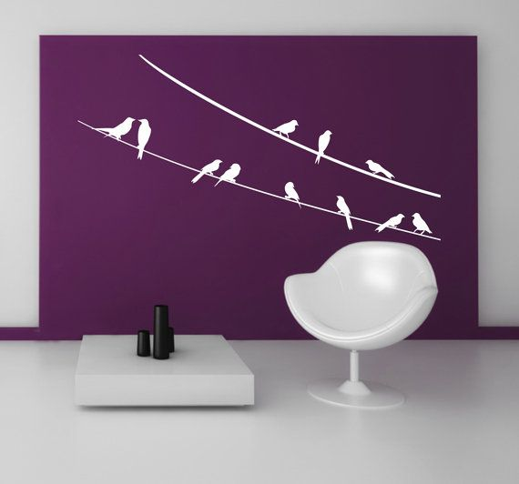 Wall decal Birds on the ropes 03 Woodland   by LoonyBinWorkshop