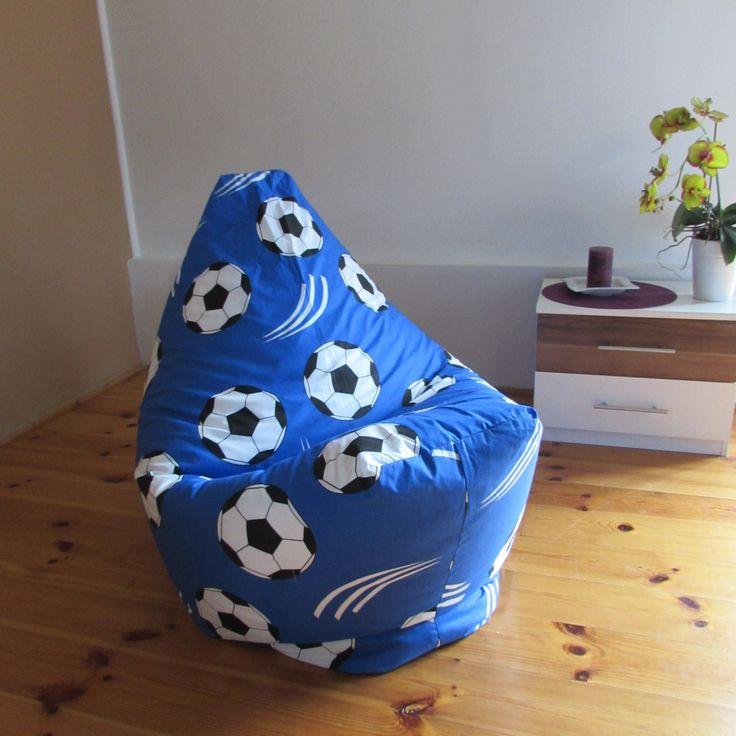 Sedací vak fotbalový míč modrý