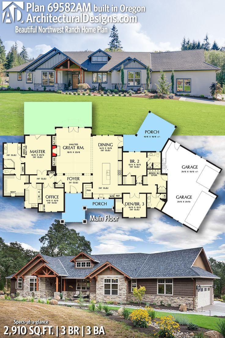 Plan 69582am Beautiful Northwest Ranch Home Plan Ranch
