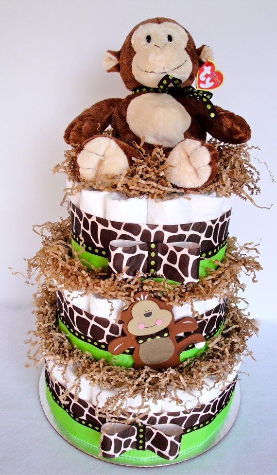 Diaper Cake - Green  Brown Monkey Safari Theme Baby Shower Diaper Cake Centerpiece - 3 Tier