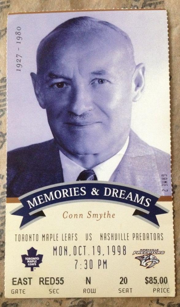 "98 Toronto MAPLE LEAFS ""CONN SMYTHE"" Ticket Stub vs PREDATORS Maple Leaf GARDENS"