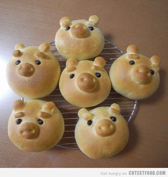 Pig Bread, reminds me of dad sculpting mini breads and baked them!